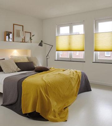 gele plisse slaapkamer