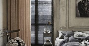 houten jaloezieen met gordijnen slaapkamer