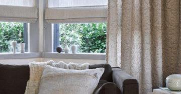 vouwgordijnen met gordijnen woonkamer